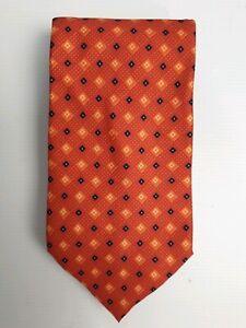 Hardy-Amies-Men-039-s-Italian-100-Silk-Rust-Color-Dots-Tie-Necktie-Made-in-Italy