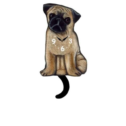 Pug Dog Wagging Tail Clock FREE SHIPPING Pink Cloud Gallery