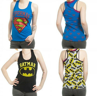 Batman Superman Allover Dc Comics Junior Racer Tank Top Shirt