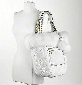 7825fc16000 NEW Coach Ltd Ed White Poppy Ski Bunny Bella Quilted Fur LG Tote Bag ...