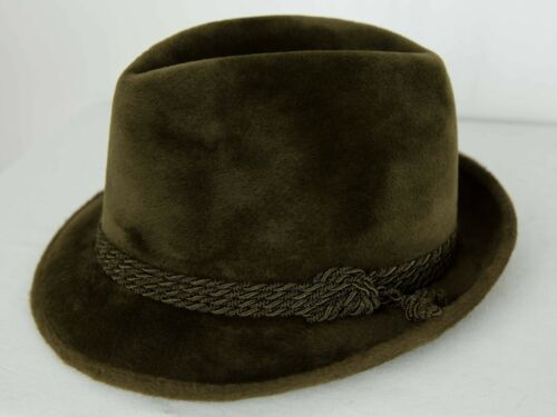 Special Vintage Borsalino Colombo Fur Felt Fedora Cord Ribbon With Knot Green