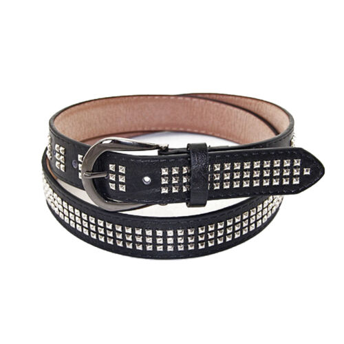3 Row Pyramid Rivets Studded PU Leather Waist Belt with Fastener Silver Buckle