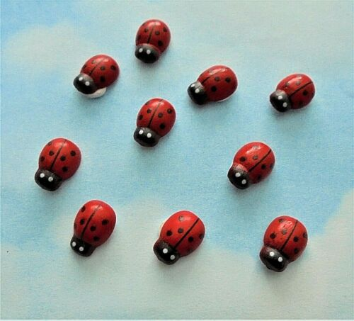 red Wooden mini ladybird shapes x 10