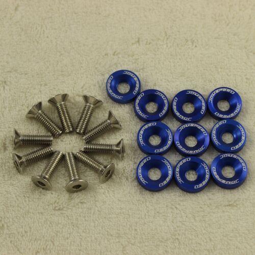 BLUE 20PCS CNC BILLET ALUMINUM FENDER WASHER BOLT ENGINE BAY DRESS UP KIT