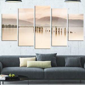 Designart Loch Lomond Jetty And Mountains Landscape Canvas Metal Wall Art 60x3 Ebay