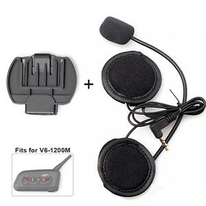 Headset Mic 3.5mm+Clips Mount for Motorcycle Bluetooth Helmet Intercom V6 series