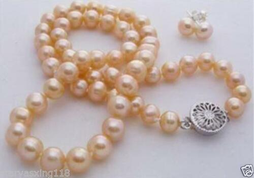 """7-8 mm Naturel Rose Akoya Cultured Pearl Collier Boucle d/'oreille 18/"""""""
