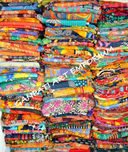 Vintage Kantha Quilt Throw Blanket Bedding India Bedspread Coverlets