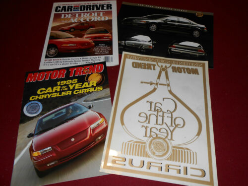 CAR of the YEAR DECAL 1995 CHRYSLER CIRRUS BROCHURE Etc.: 4 Items! SPEC SHEET