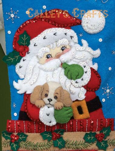 "Bucilla Santa/'s Secret ~ 18/"" Felt Christmas Stocking Kit #86280 Puppies Dog 2011"