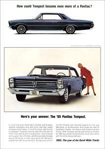 PONTIAC TEMPEST 65 RETRO A3 POSTER PRINT FROM ADVERT 1965