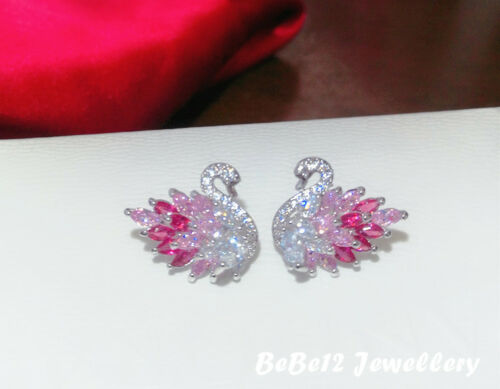 Gradient color//Pink Swan Stud Earring//Sterling silver post//E907