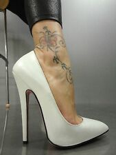 MORI MADE IN ITALY NEW HIGH SKY HEELS PUMPS SCHUHE SHOES LEATHER WHITE BIANCO 39