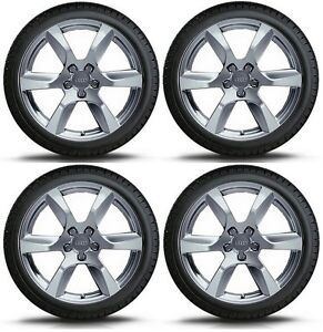 Set Of Four Genuine Audi R8 18 Alloy Wheels Dunlop Winter Tyres