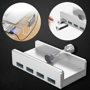 Neu-4-Port-USB-HUB-3-0-Alu-Adapter-Verteiler-High-Speed-Kabel-Stecker-Fuer-PC-Mac