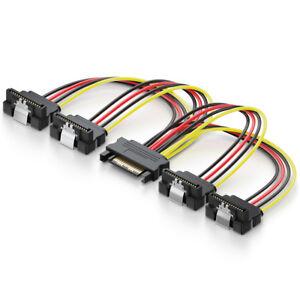 deleyCON-0-15m-SATA-Strom-Y-Adapter-1-zu-4x-S-ATA-Stecker-4-Fach-gewinkelt