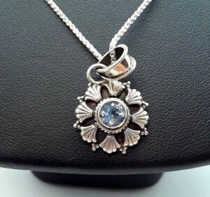 Fine-Round-Blue-Gem-Pendant-Sterling-Silver-925-Necklace-6g-18-034-M7638