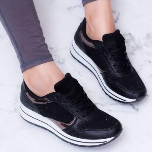 Spylovebuy CASOAR Strass Bas compensées à lacets Plates Baskets Chaussures