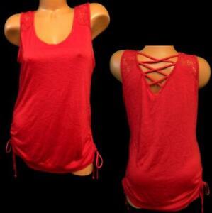 No-boundaries-red-crochet-trim-detail-side-tie-back-cage-plus-size-top-XL-15-17