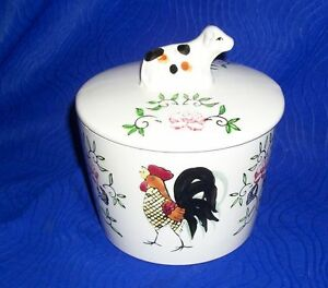 Small-Vintage-Country-Cow-and-Chicken-Covered-Jar-Canister