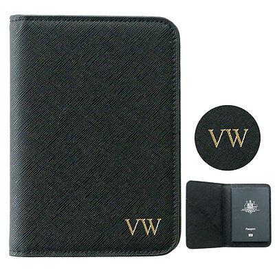PERSONALISED MONOGRAMMED Saffiano Leather Passport Holder Travel Wallet Black