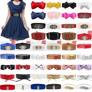Fashion-Womens-Bowknot-Buckle-Stretchy-Wide-Waist-Belt-Ladies-Elastic-Waistband