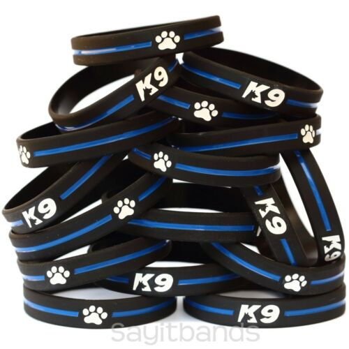 Thin Blue Line Canine Police Bracelet Lot K-9 Bracelets Set of K9 Wristbands