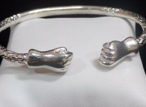 Image Is Loading Thick Fist Ends 925 Sterling Silver West Indian