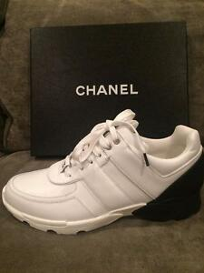 CHANEL 16P White Leather Black Neoprene Back Tennis Sneakers Kicks ... 619d7dc01
