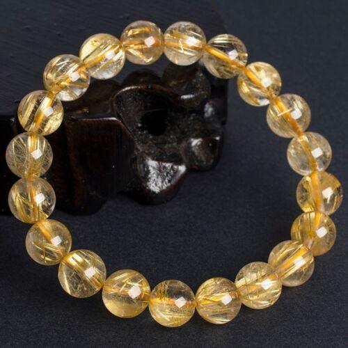 8mm Oro Natural Cristal Cuarzo Rutilado redonda con cuentas pulsera de alta calidad