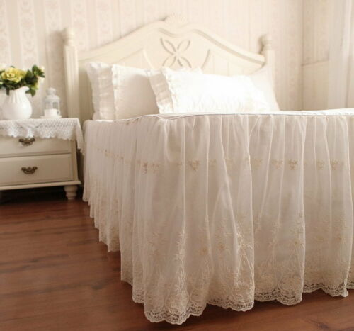 Luxury /& Romantic Ivory Embroidery Lace Ruffle Cotton Duvet Cover Bedding Set