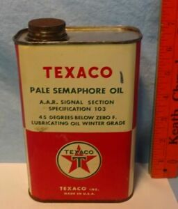 * RARE - Vintage - HARD to FIND - TEXACO - Pale Semaphore Oil TIN CAN - 1 QT **