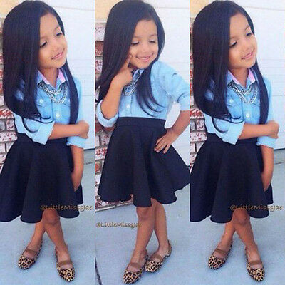 2015 Baby Kids Girls Dress Tops Shirt Blouse+Skirt Black 2-Pieces Outfits 2-8Y