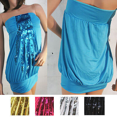 Regular/Plus Ladies Bandeau Strapless Sequin Cocktail Party Mini Dress Tunic USA