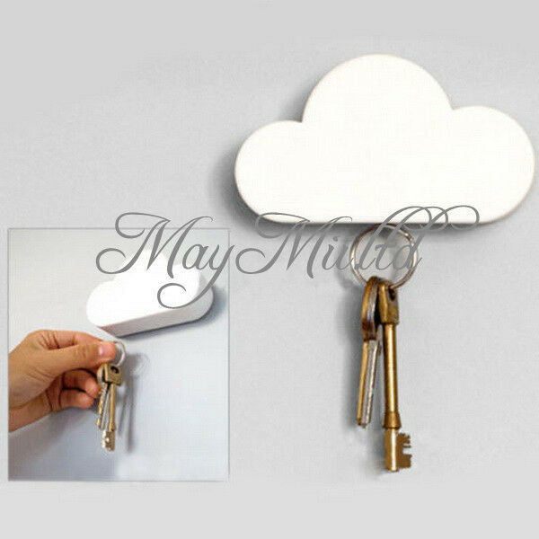 New Easy Key Holder Home Wall Hanger White Cloud Shape Magnetic Magnets Chain G
