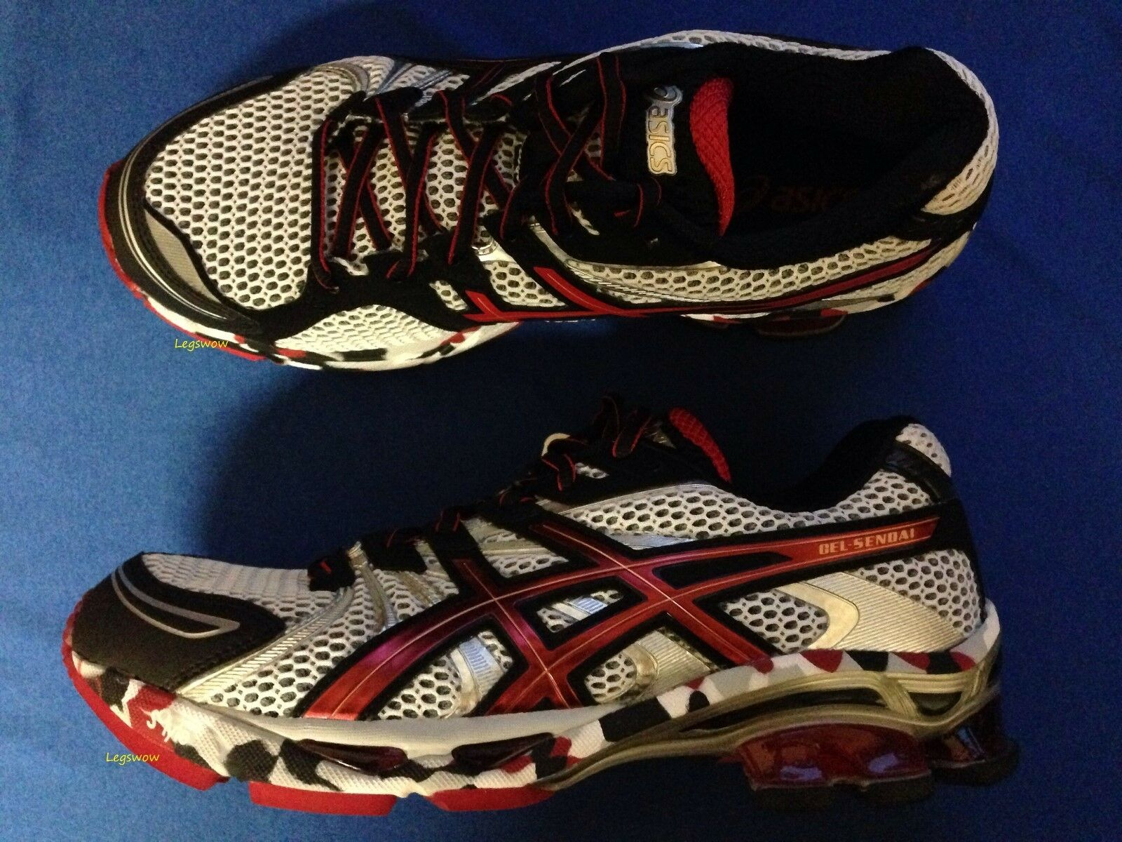 Asics Gel-Sendaie Running Sneakers Shoes Red Black White Mens 9 Trainers Gym New