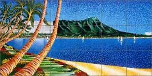 Tile-Mural-Backsplash-Ceramic-Mondz-Tropical-Waikiki-Beach-Hawaii-Art-POV-RMA003