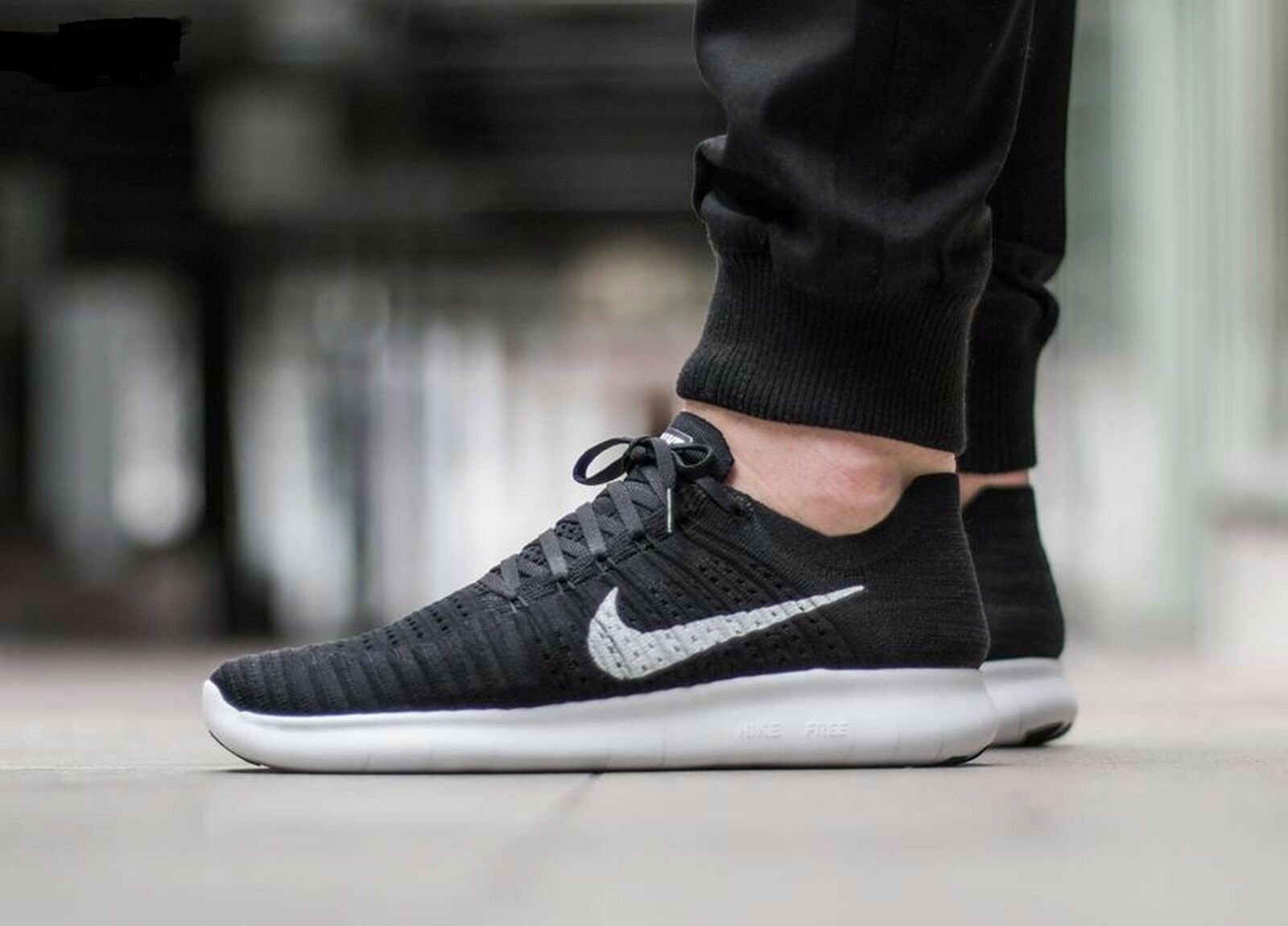 Nike Free RN Flyknit  Running Shoes Nero White 831069 001 Uomo Sz 13