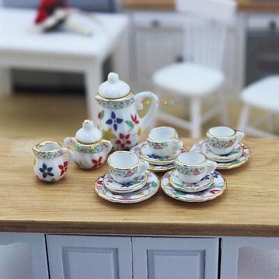15PC Coffee Tea Set Porcelain Dish Plate Pot Cup Teapot Dollhouse Miniature 1:12