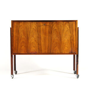 Retro-Vintage-Danish-Rosewood-Drinks-Trolley-Bar-Sideboard-Cabinet-50s-60s-70s