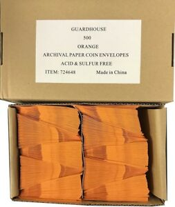 2x2 Paper Coin Envelopes Safe Archival Orange Bulk Box 500 Acid Free