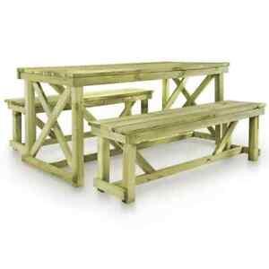 Detalles De Vidaxl Juego De Muebles De Jardín 3 Piezas Madera Fsc Muebles Terraza Jardín