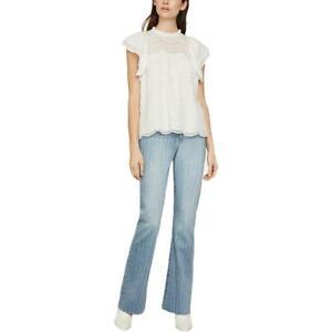 BCBGMAXAZRIA Womens Ivory Eyelet Peasant Shirt Blouse Top XS BHFO 3551