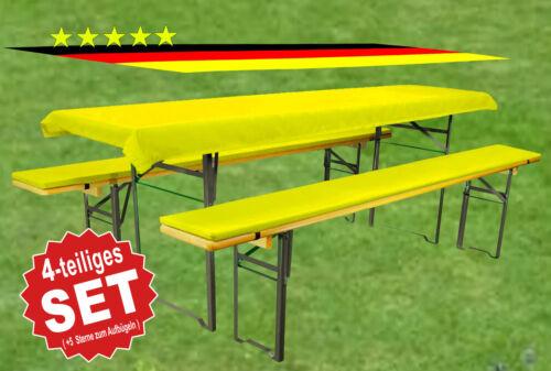 Bierbankauflagen-Set Gelb-3teilig-Tischdecken:240x90-Auflagen:220x25