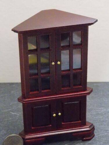 Dollhouse Miniature Corner Hutch kitchen Cabinet Mahogany 1:12 inch scale  N38