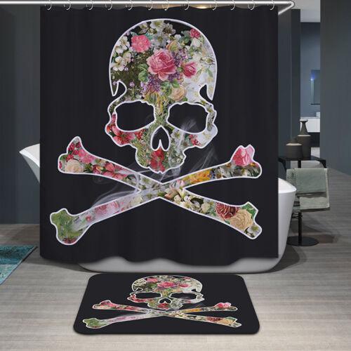 D/'impression 3D Pirate Crâne Fleur Rideau De Douche Salle De Bain Tapis Tapis Imperméable decor