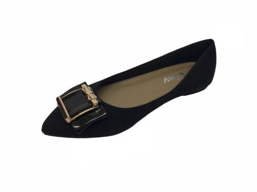 Nuevo para mujer señoras con estilo Pointy patente Tribunal Zapatos Trabajo Fiesta Tacón Bajo Bombas UK