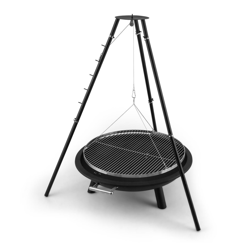 Barbecue charbon de bois brasero 96cm jardin terrasse + grill pivotant + trépied