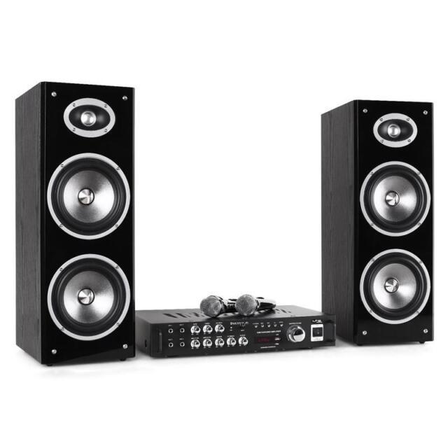DJ PA KARAOKE PARTY MUSIK ANLAGE SET VERSTÄRKER BOXEN 2x MIC BLUETOOTH USB MP3