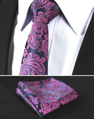 Luxury Pink Floral Paisley /& Shiny Black Tie Wedding Silk Pocket Hanky